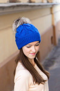 Fur Pompom Hat In Cobalt Blue