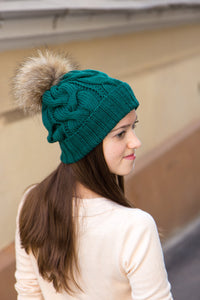 emerald green pom pom beanie hat for winter