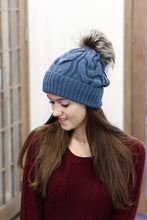 Blue Bobble Hat With Fur Pom Pom