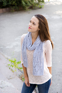 hand knit gray lace scarf stole