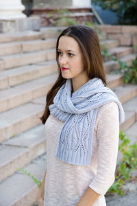 blue gray angora knit scarf