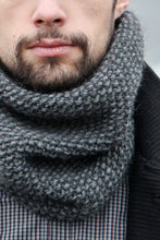 gray hand knit cowl scarf for man