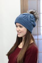 real fox fur pom pom hat