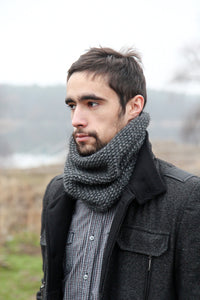 Mens Gray Wool Knitted Scarf