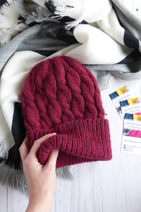 warm alpaca wool beanie in burgundy
