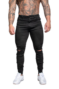 AG04- Muscle Fit Jeans- Black/Ripped Knee