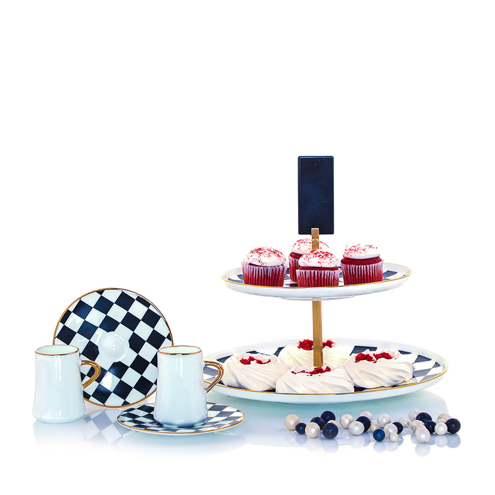Together in Wonderland: With the dramatic HM Sufi Cake Stand and contemporary HM Sufi Checkers Caffe Lungo Set, you can serve up traditional treats with a fresh, stylish twist.