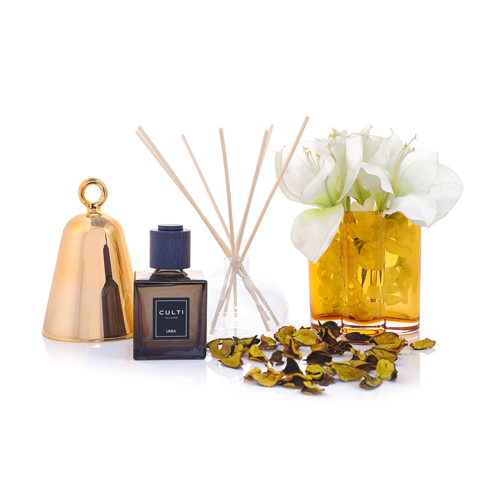 Fabulous Fragrances: This luxurious Eid Hamper would make the perfect gift, either to someone special or simply to yourself.  Who could resist the fragrant Culti Diffuser Décor Linfa, the gold Ichendorf Bell Perfume Container or the Tivoli Window Vase