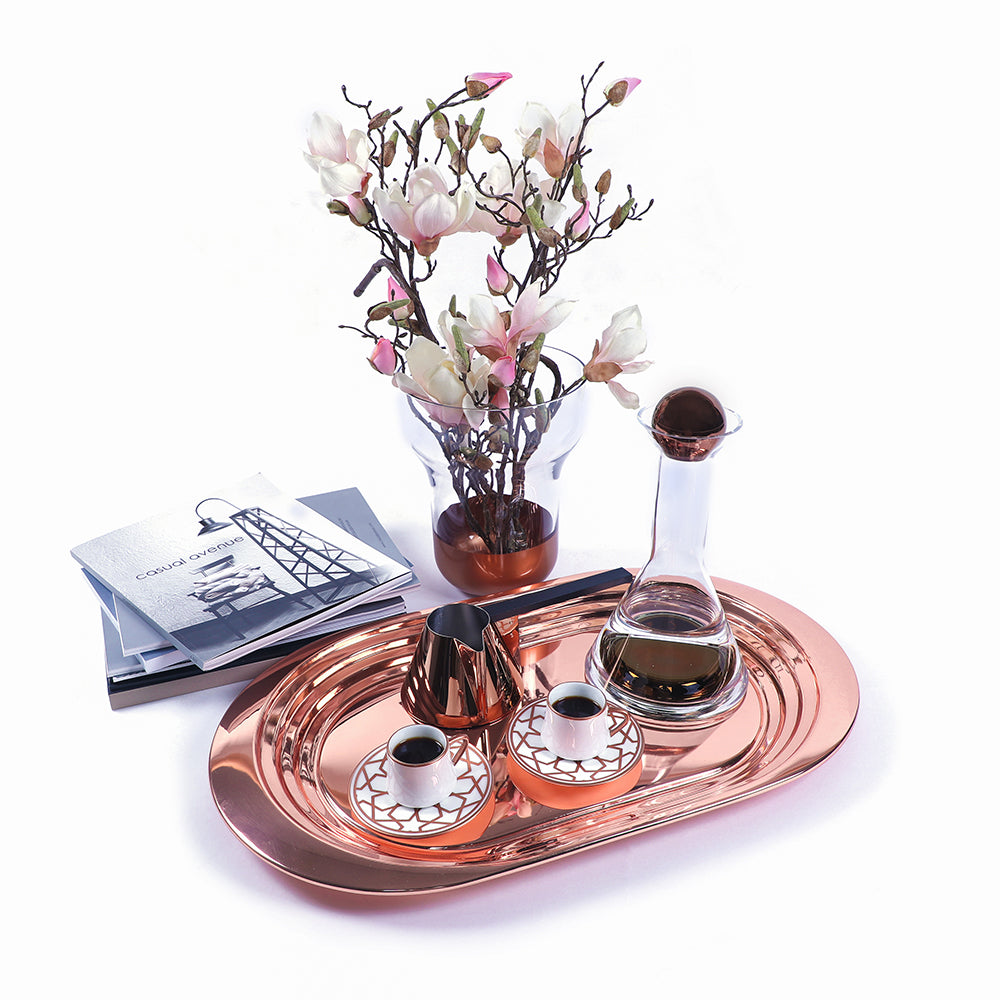 Any host would be absolutely delighted by the treats included, from the chic copper Tom Dixon Tank Decanter to the stunning patterns of the HM Sufi Star Mat Rose Turkish Coffee Set, not to mention the expert craftsmanship and style of the Tom Dixon Brew