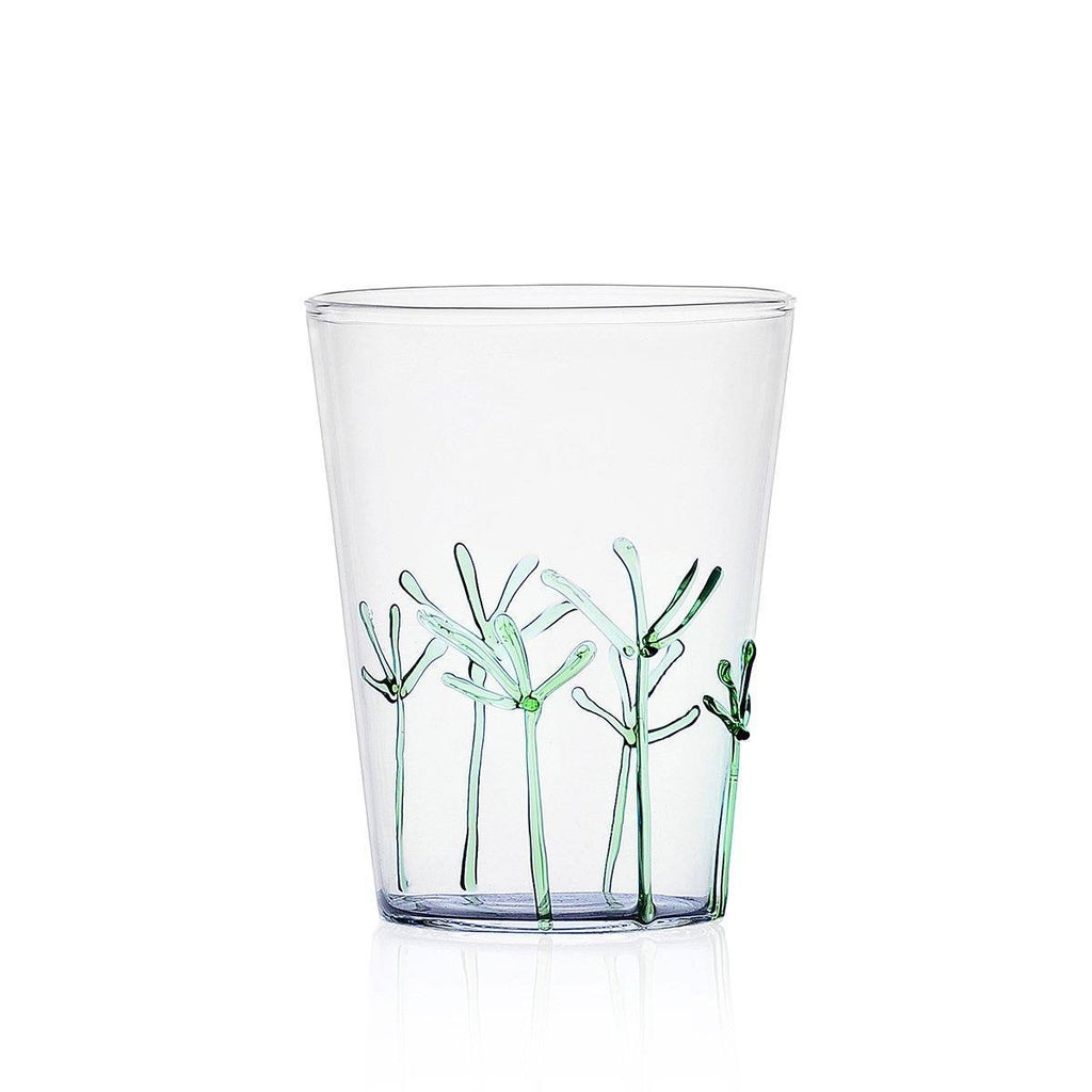 Ichendorf Greenwood Long Green Branches Glass, Clear