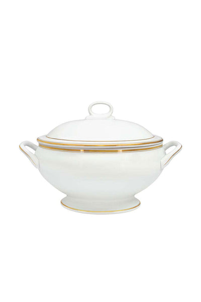 Shangai Gold Casserole with Lid, White/Gold, 3.8 L