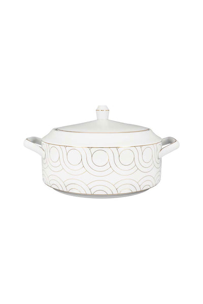 Infinity Casserole with Lid, White/Grey, 3.8 L