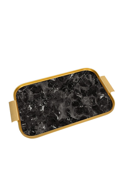 Tray Black Marble/Gold, 56 X 35 Cm