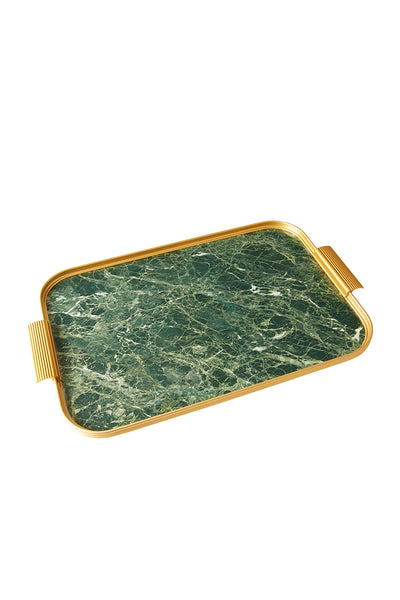 Tray Green Marble/Gold, 56 X 35 Cm