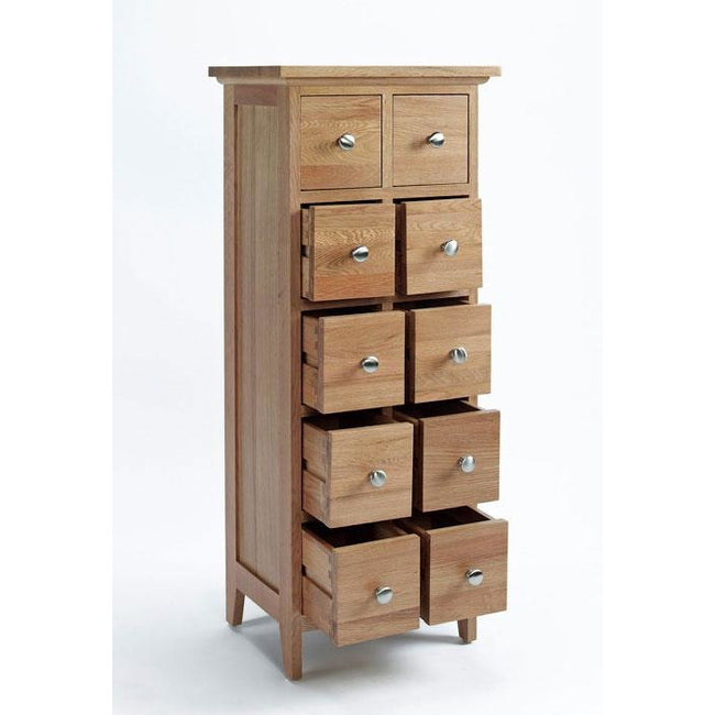 Sherwood Oak CD/DVD Cabinet with 10 Drawers - Perfectly Home Interiors