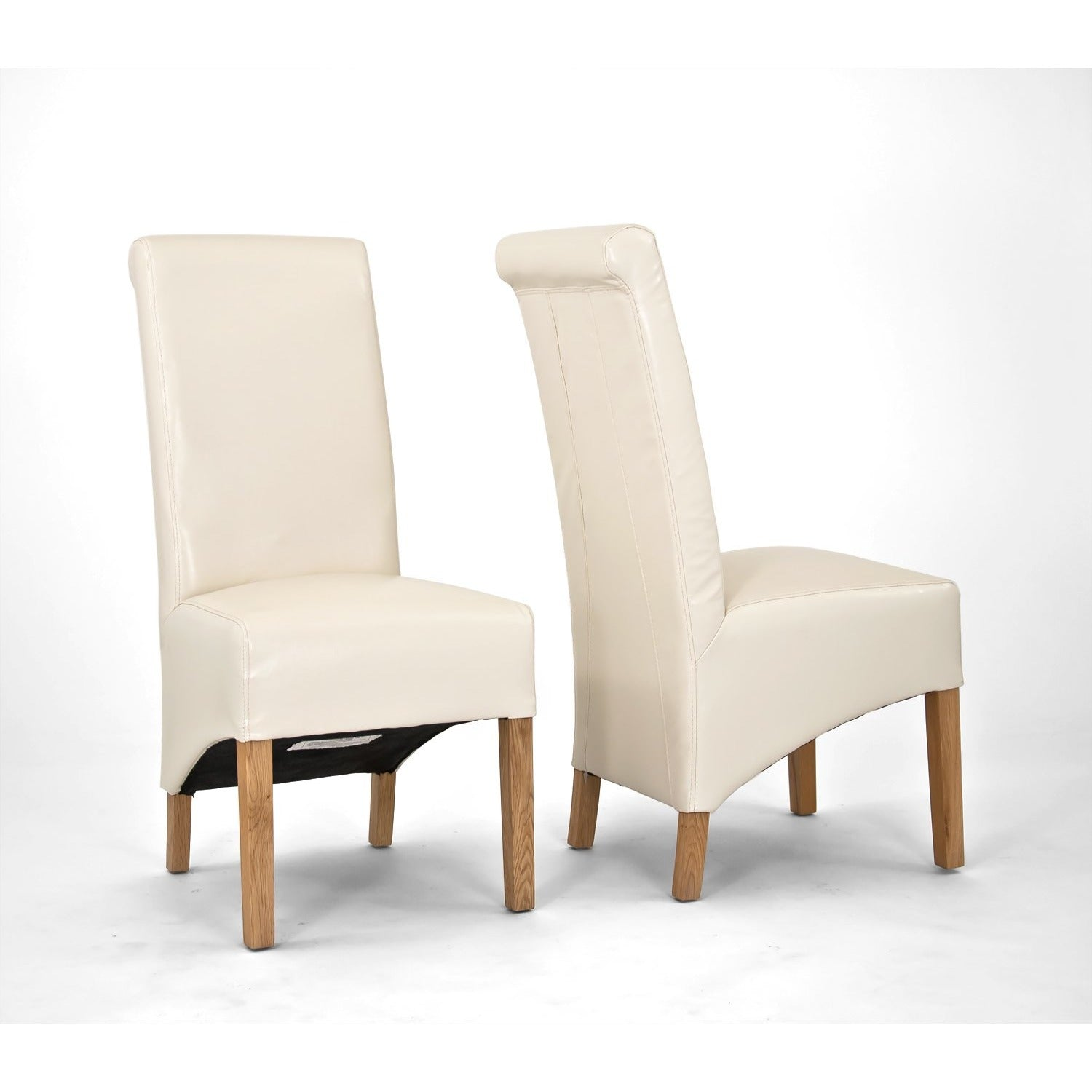 Sherwood Oak Rolltop PU / Bicast Leather Chair - Cream - PAIR - Perfectly Home Interiors