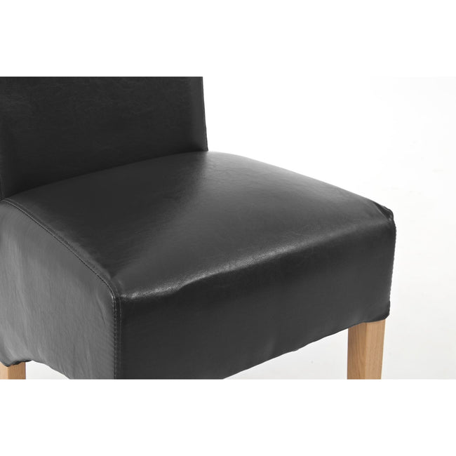 Sherwood Oak Rolltop PU / Bicast Leather Chair - Black - PAIR - Perfectly Home Interiors