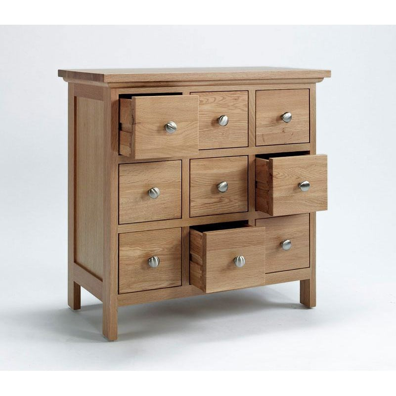 Sherwood Oak CD/DVD Cabinet with 9 Drawers - Perfectly Home Interiors