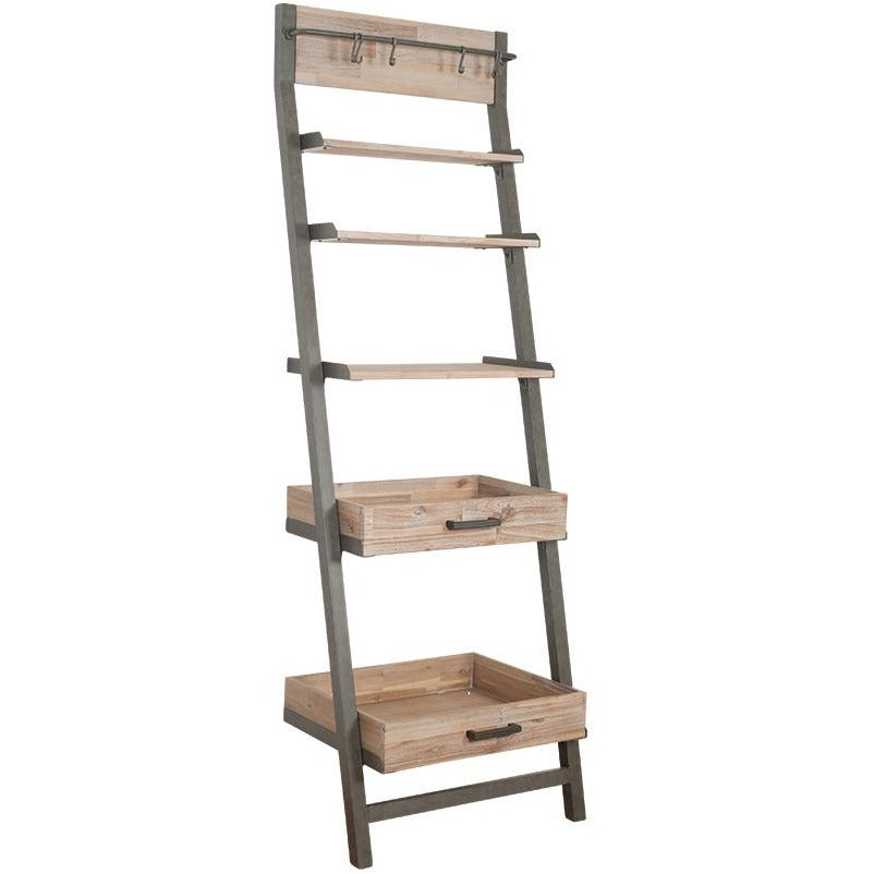 Acacia Wood & Metal 5 Shelf Ladder - Perfectly Home Interiors