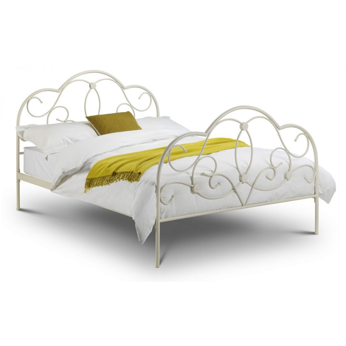 Arabella white metal Bed, 3 Sizes - Perfectly Home Interiors