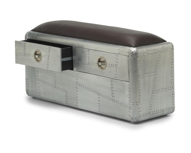 Aviator 2 Drawer Aluminium Bench - Perfectly Home Interiors