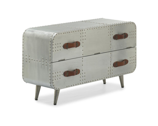 Aviator 2 Drawer Aluminium Chest - Perfectly Home Interiors