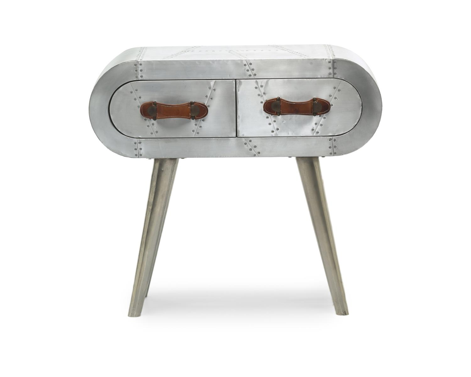 Aviator 2 Drawer Aluminium Console Table - Perfectly Home Interiors