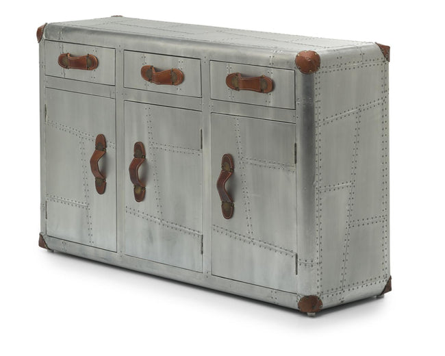 Aviator 3 Door Aluminium Sideboard - Perfectly Home Interiors