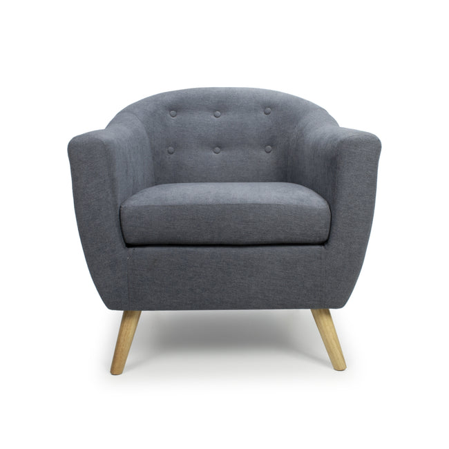 Blue Button Back Deep Tub Chair - Perfectly Home Interiors