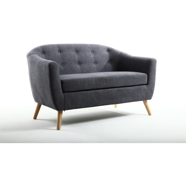 Blue Button Back Deep Tub Sofa - Perfectly Home Interiors