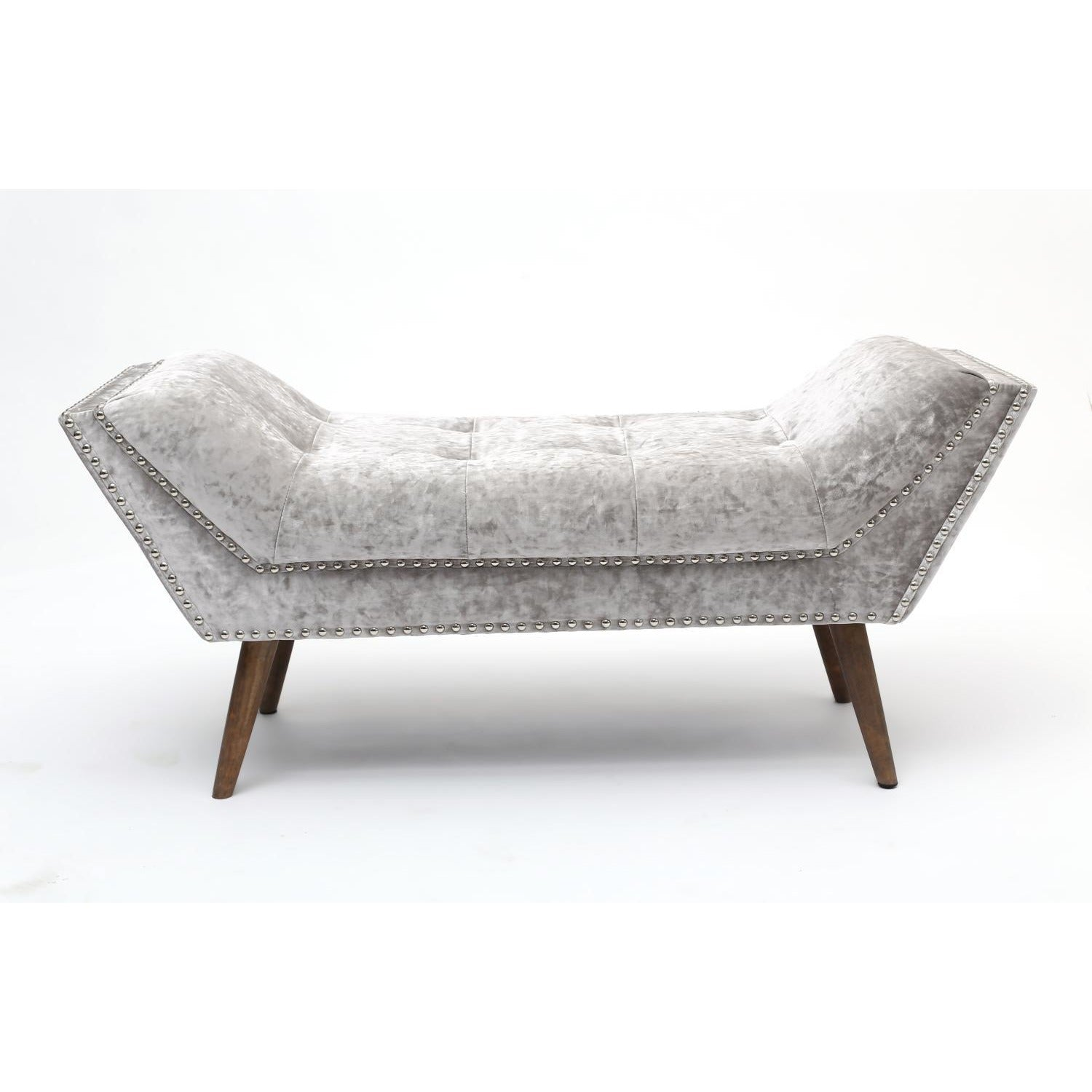Crushed Velvet Silver Chaise - Perfectly Home Interiors