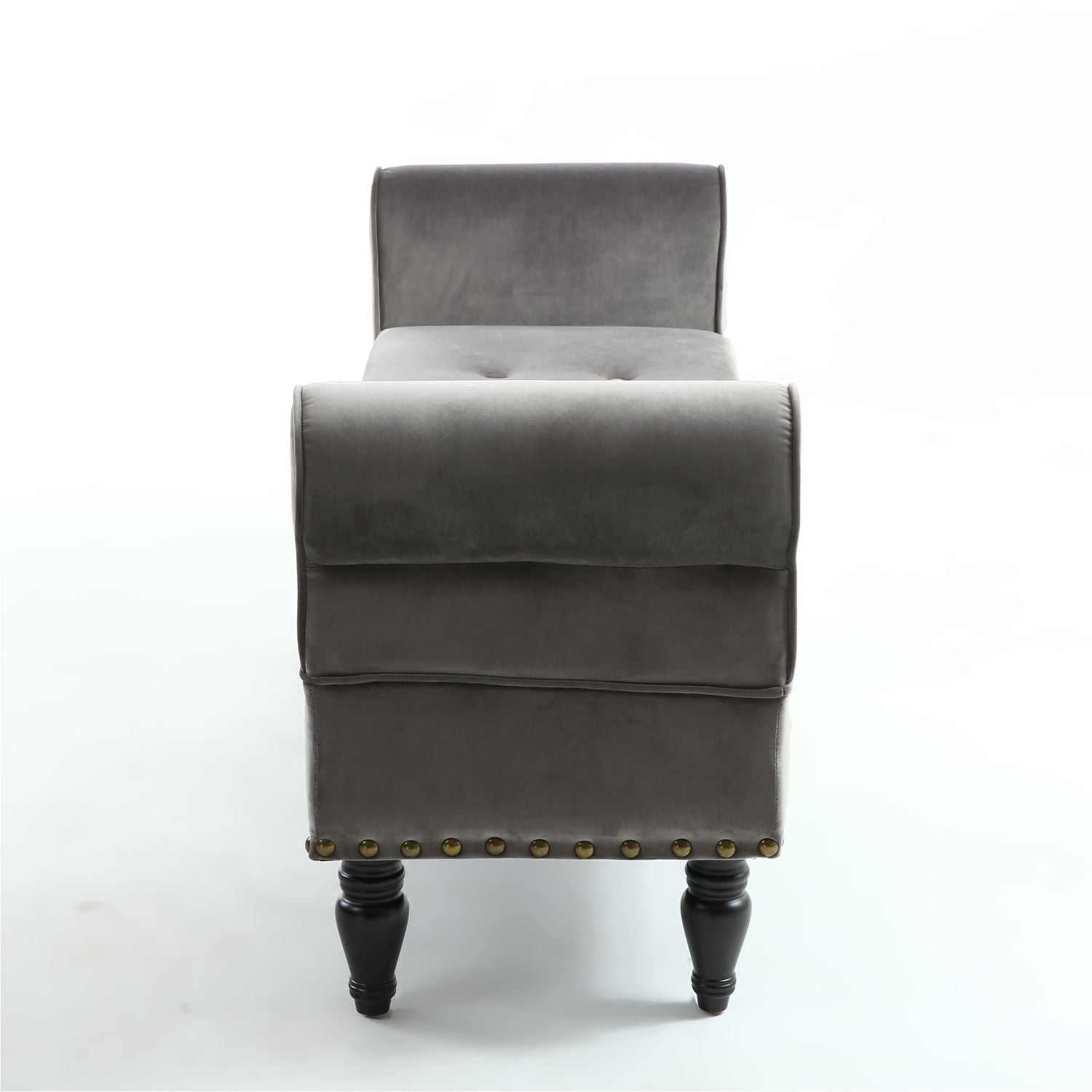 Grey Brushed Velvet Ottoman - Perfectly Home Interiors