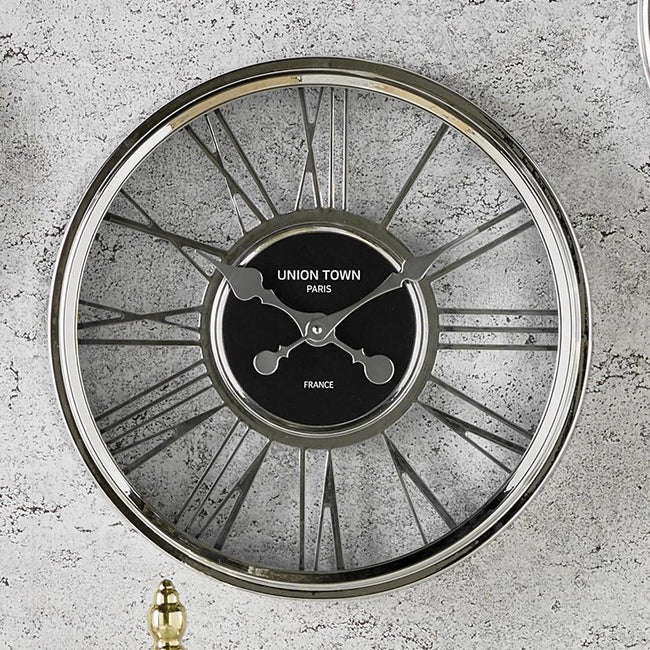 Metallic Silver Round Wall Clock - Perfectly Home Interiors