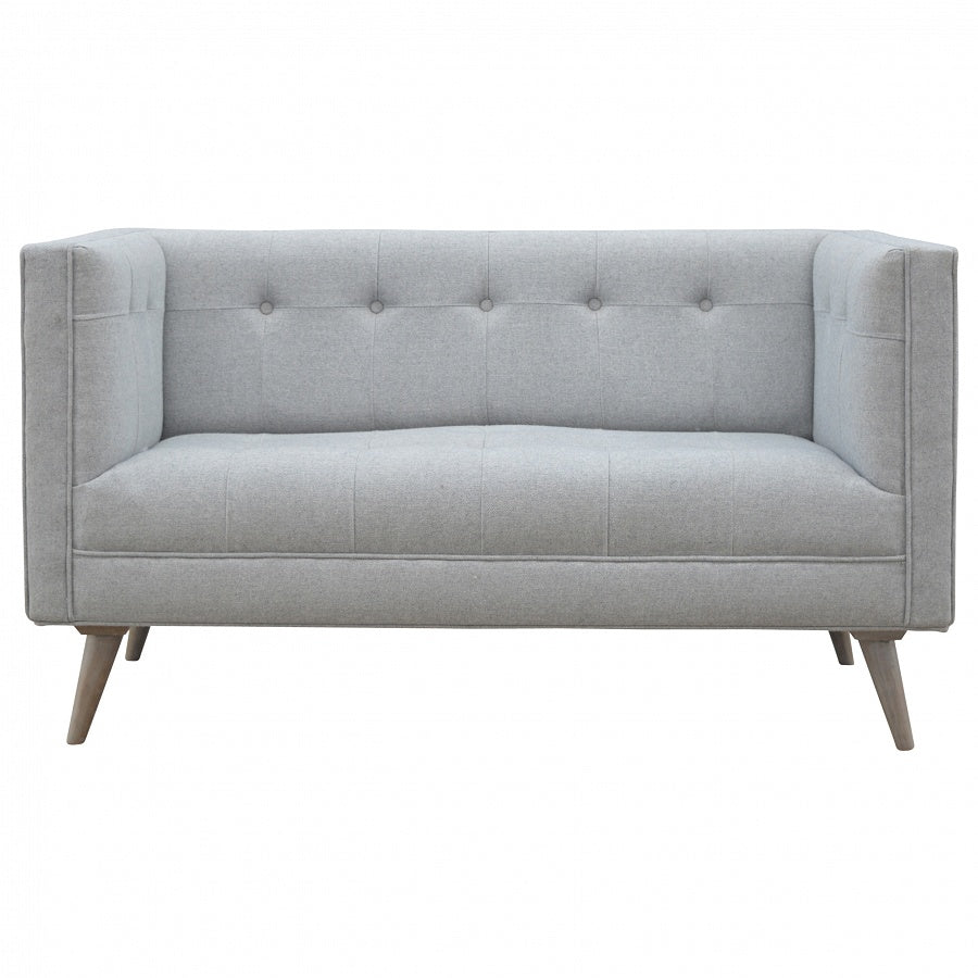 Scandi Style 2 Seater Sofa in Grey Tweed - Perfectly Home Interiors
