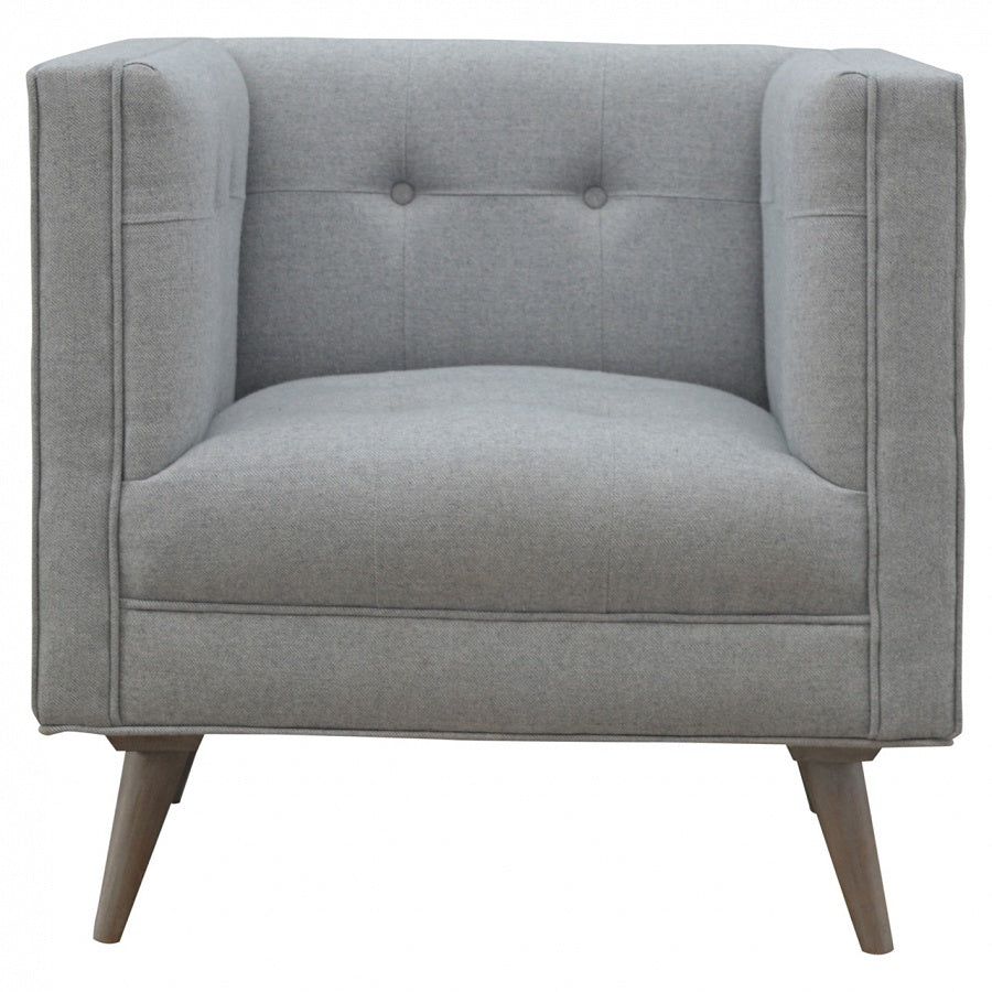 Scandi Style Armchair in Grey Tweed - Perfectly Home Interiors