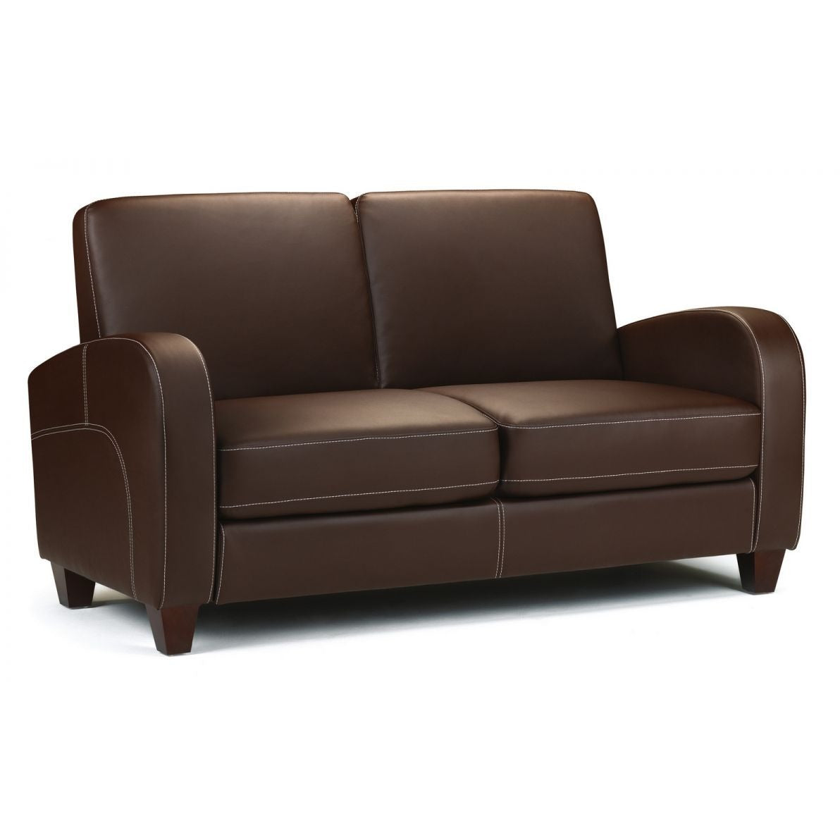 Vivo 2 Seater Sofa in Chestnut Faux Leather - Perfectly Home Interiors