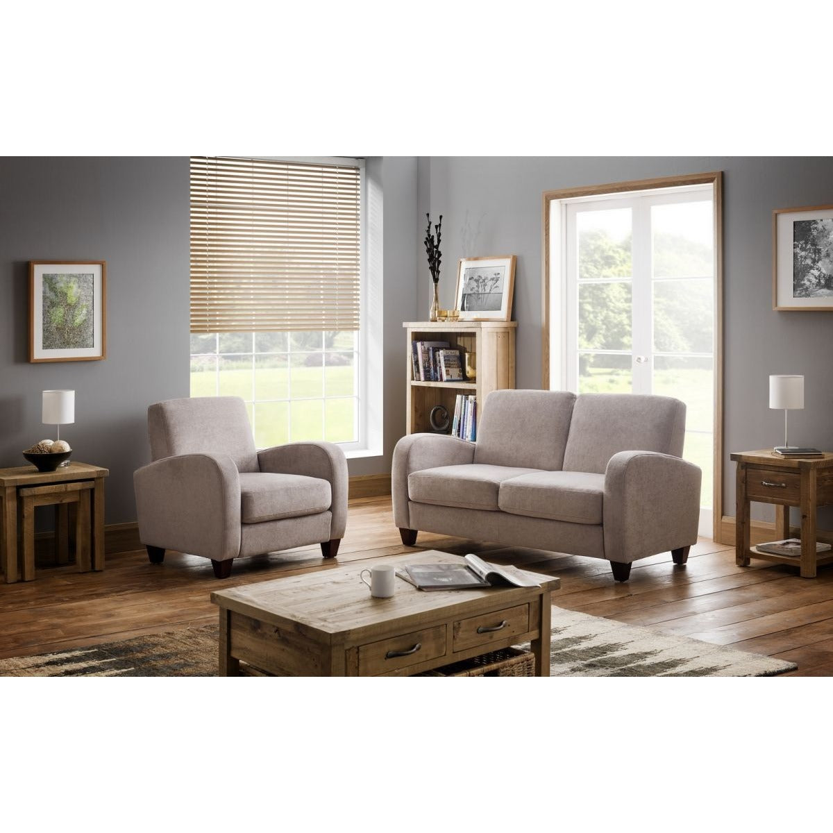 Vivo 2 Seater Sofa in Mink Chenille - Perfectly Home Interiors