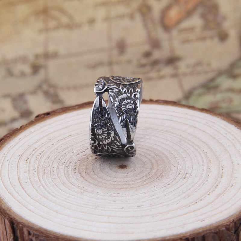Adjustable Ravens Ring