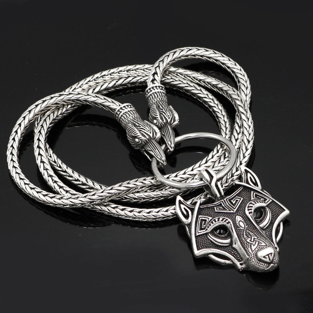 Odin's Ravens With Wolf Pendant Necklace