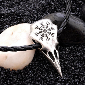 Viking Raven skull necklace