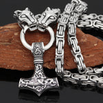 King Chain With Wolf Heads And Mjolnir Pendant