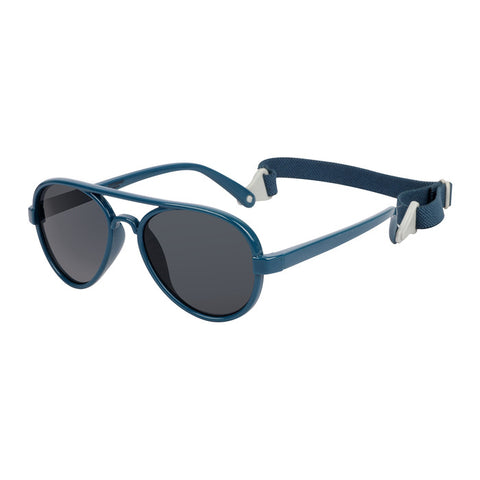 COCOSAND Aviator Toddler Sunglasses with Strap, Age 2-6, Blue