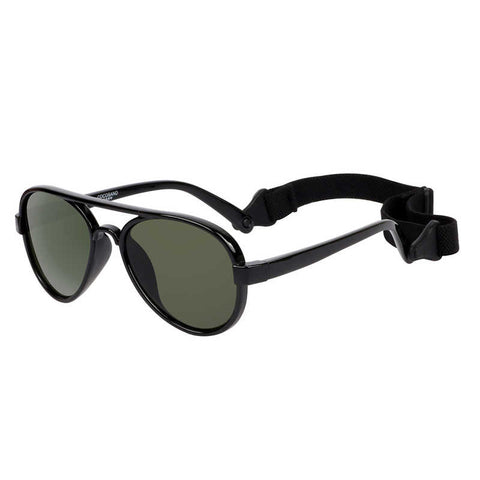 COCOSAND Aviator Baby Sunglasses with Strap, Age 0-2, Black