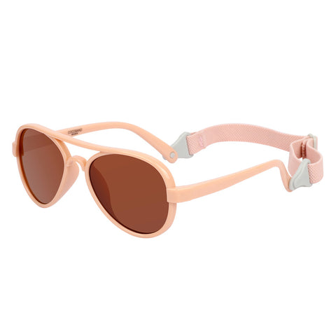 COCOSAND Aviator Baby Sunglasses with Strap, Age 0-2, Pink