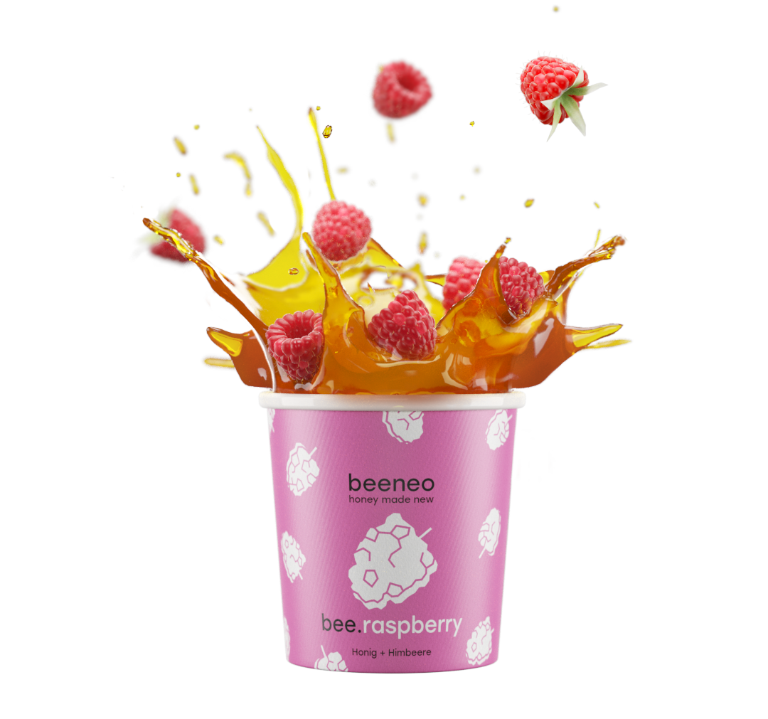 beeneo cup: honey full of raspberries splashing