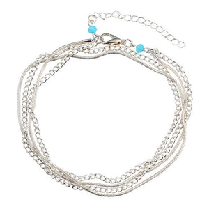 17KM Vintage Antique Silver Color Anklet Women Big Blue Stone Beads Bohemian Ankle Bracelet cheville Boho Foot Jewelry