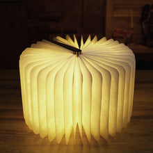 ICOCO Innovative USB Rechargeable LED Foldable Wooden Book Shape Desk Lamp Nightlight Booklight for Home Decor Warm White Light
