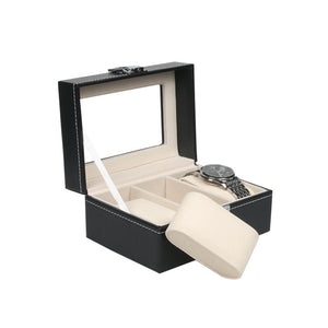 Large 3 Grids Black Leather Style Display Jewelry Organizer Gift Box with Lock and Mirror