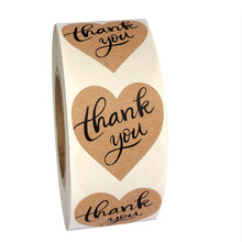 "1.5"" Heart Shape Thank You Labels (Roll of 500 Stickers)"