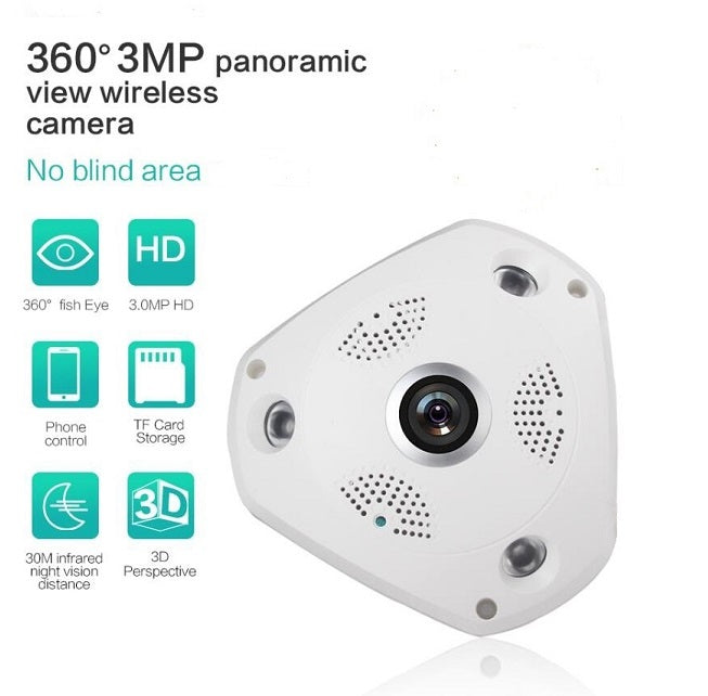 Wi-Fi Panoramic Fisheye Security Camera 3.0MP